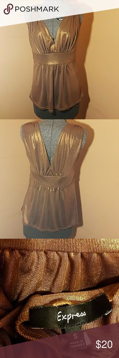 Plunge bronze metallic blouse This top is guaranteed to make a statement! Express Tops