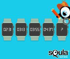 Welke tijd zoeken we voor op het horloge? Antwoord: 5:19. Er komt telkens 42 minuten bij. Meer raadsels van Squla? Volg ons dan op Instagram en Facebook! Math Challenge, Escape Room, Starters, Brain, Challenges, Activities, The Brain