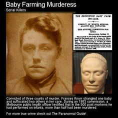 Frances Knorr - Baby Farming Murderess. Here is the story of an absolutely horrendous killer. Head to the following link to learn more: http://www.theparanormalguide.com/blog/frances-knorr-baby-farming-murderess