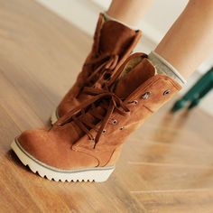 Fashion Women comfort flats Lace-up round toes Ankle Winter Warm boots Plus Size #other #Comfort