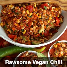 """Rawsome Chili that is raw, vegan, gluten and dairy free  More info at vegetarianrecipes.hotforyoga.tv and downLoad the free recipes by """"Hot In The Kitchen""""  at the Apple App Store. Available Nov 1 2014 Free Recipes, Vegan Recipes, Vegan Chili, App Store, Raw Vegan, Free Food, Dairy Free, Spices, Soup"""