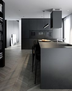 Apartment Poznan, Poland Easst architects #kitchen #instakitchen #interiors #interiordesign #blackkitchen #render #floor #flooring #kitchendesign #easst #instainteriors