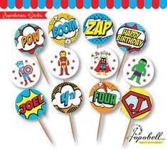 Superhero Cupcake Topper for Avengers Birthday Party. In 12 designs! Superheroes…