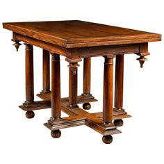 French Second Renaissance Table with a Cross of Lorraine Shaped Base | From a unique collection of antique and modern Dining Room Tables at https://www.1stdibs.com/furniture/tables/dining-room-tables/.