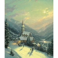 Thomas Kinkade Moonlit Village print for sale. Shop for Thomas Kinkade Moonlit Village painting and frame at discount price, ships in 24 hours. Thomas Kinkade Art, Thomas Kinkade Christmas, Kinkade Paintings, Oil Paintings, Painting Art, Thomas Kincaid, Art Thomas, Christmas Art, Christmas Houses