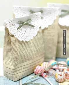 Gift bags made from newspaper ….. Substitute with maps