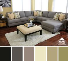 If we build a house I want this kind of couch! Yellow & Gray Living Room Coming Soon - We Like!