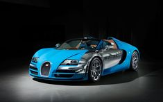 Download wallpapers 4k, Bugatti Veyron Grand Sport Vitesse, hypercars, blue Veyron, sportscars, Bugatti, Bugatti Veyron