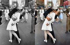 Kissing the War Goodbye, 1945 (Photo credit: Sanna Dullaway)_ 36 Realistically Colorized Historical Photos Make the Past Seem Incredibly Alive