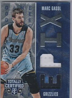 2014-15 Panini TOTALLY CERTIFIED Epix #21 Marc Gasol Blue #D/149 Jersey Grizzlies