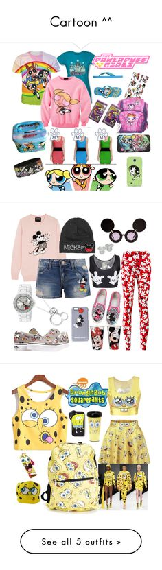 """Cartoon ^^"" by amra-sarajlic ❤ liked on Polyvore featuring THE POWERPUFF GIRLS, Markus Lupfer, Disney, Vans, Linda Farrow, Moschino, Forever 21, Hybrid Tees, ASOS and Boohoo"