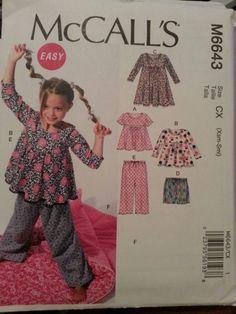 McCall's Pattern M6643 Girls' Tops, Dress, Shorts, Pants, Sleeping Bag sizes 3-6