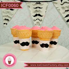 pink MUSTACHE birthday party wraps labels for by IceCreamFactory, $8.99
