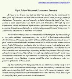 High School Personal Statement Examples For Guidance  Http://www.personalstatementsample.net  Example Of Personal Statement