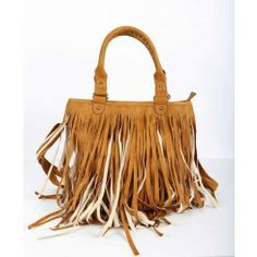 Liquorish Tassel Bag Tan fringed tote bag with weaved gold and tan double carry handles,
