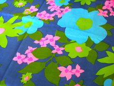 Vintage Fabric  Flower Fabric Turquoise Lime
