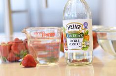 Soak strawberries in a 3-to-1 vinegar solution to prevent mold