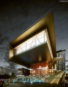 Cultural Arts Center at VWArtclub Office Building Architecture, Architecture Panel, Architecture Portfolio, Futuristic Architecture, Amazing Architecture, Architecture Design, Modern Architectural Styles, Architectural Lighting Design, 3d Architectural Visualization