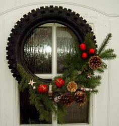 Ideas for Scott and Patrick's store. Tire Christmas wreath