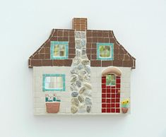 Handmade Cotswold Cottage Mosaic Wall Art With Terracotta Pots Millefiori Flowers Stone Chimney Home Decor Gift