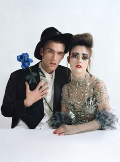 From left: Cosmo Macdonald, model and painter, wears Beyond Retro jacket; J.W. Anderson shirt; Patricia Underwood hat. Ashley Williams, designer, wears Giles dress; Falconiere gloves.