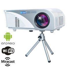 Foto 1 - Mini Projetor Protátil Betec - 1600 Lumens - Tripé - Android 4.4.4 Pt, Wifi, Miracast, Internet