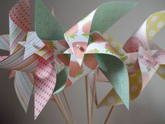 6 Large Spinning Pinwheels- Strawberries, Roses, Stripes, and Polkadots in Yellow, Pink, and Green