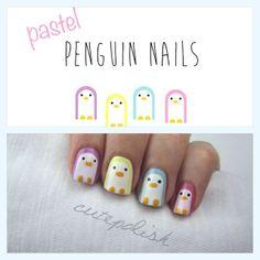 Penguin nail art for little girls Cute Nail Art, Nail Art Diy, Diy Nails, Cute Nails, Pretty Nails, Little Girl Nails, Girls Nails, Penguin Nail Art, Nail Art For Kids