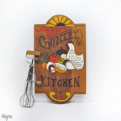 Country Kitchen Wooden Wall Plaque • Vintage 70s Country Kitchen Typography • Kitchen Decor • Country Kitchen Sign • Kitchen Art • Handmade ➳ Aligras Vintage on Etsy