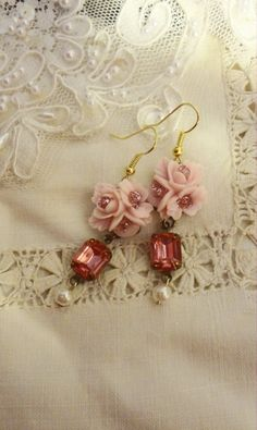 Shabby Chic Shades of Pink Earrings.  Marie by BerthaLouiseDesigns, $23.95