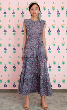 c38ada80308b1 Iris Dress, Blueprint Flower Medalion, Cotton Voile