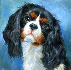 Bella, the Cavalier King Charles Spaniel.  A similar custom portrait is offered on Etsy by HopeLaneArt, $150.00