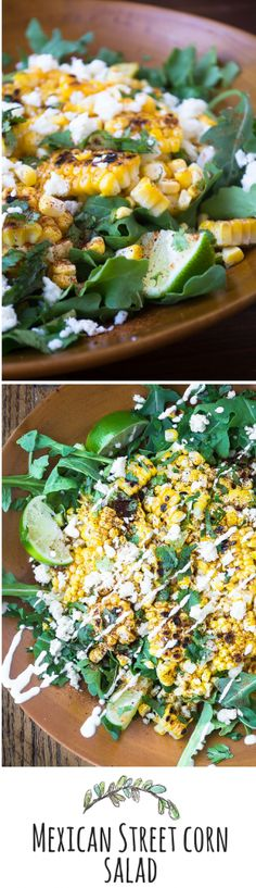 Mexican Street Corn Salad is a fiesta in a bowl! Used asiago cheese and spring mix lettuce. Mexican Food Recipes, Vegetarian Recipes, Cooking Recipes, Healthy Recipes, Clean Eating, Healthy Eating, Healthy Life, I Love Food, Good Food