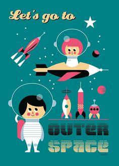 arrhenius-retro-space-poster.jpg 573×800 pixels - vrolijke illustraties die de boodschap duidelijk maken en ook goed kleurgebruik.