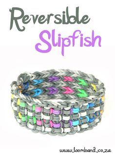 Reversible SlipFish loom band bracelet tutorial, instructions and videos on hundreds of loom band designs. Shop online for all your looming supplies, delivery anywhere in SA. Rainbow Loom Bracelets, Rainbow Loom Charms, Rainbow Loom Bands, Rubber Band Bracelet, Bracelets Élastiques, Rubber Band Crafts, Rubber Bands, Wonder Loom, Crazy Loom