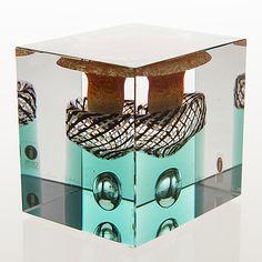 Glass Cube, Glass Art, 1990, Lassi, Glass Birds, Bukowski, Cubes, Finland, Kitchen Appliances