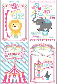 shopwantsandwishes.com - Printable Girl Circus Poster Collection – Cotton Candy Birthday Party | Wants and Wishes Printable Party Supplies