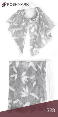 """Grey Feather Print Scarf Size : 74""""x30"""" ! 100% Viscose Accessories Scarves & Wraps"""