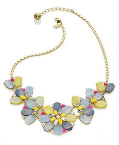 kate spade new york Necklace, Gold-Tone Bungalow Bouquet Multi Short Statement Necklace, Macy's, $114.