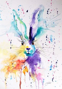 ORIGINAL WATERCOLOUR PAINTING A3 CONTEMPORARY ART DECOR GIFT ABSTRACT WILD HARE