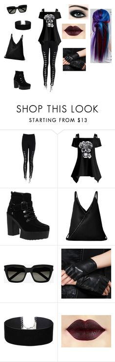 """goth outfit"" by elenatsr on Polyvore featuring Boohoo, T.U.K., MM6 Maison Margiela, Yves Saint Laurent, Miss Selfridge and Manic Panic NYC"