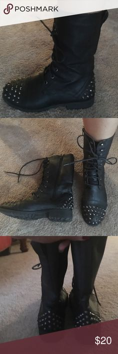 Black combat studded boots Zip on side and lace up in front. Like new condition Shoes Lace Up Boots