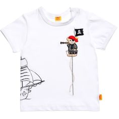 Baby Boys White T-Shirt with Pirate Bear, Steiff, Boy Baby Shirts, Boys T Shirts, Boys White T Shirt, Designer Baby Clothes, Baby Boys, Bear, Aviation, Mens Tops, Parenting