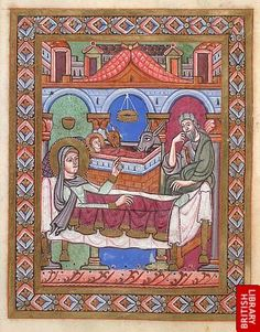 Miniature of the Nativity from a Gospel Lectionary, southern Germany, 12th century: BL MS Egerton 809, f. 1v