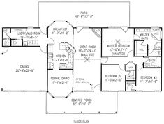 First Floor Plan of Country   House Plan 96811