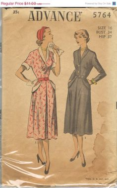 SALE 25% OFF -- 1950s Dress Pattern Advance 5764 Vintage Mad Men SALE Mid Century Sewing Patterns Supplies Sew Diy