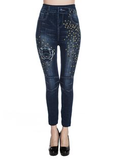 Sale 13% (14.89$) - Casual Print Stretchy Denim Slim Women Jeans Pants