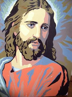 1950s Paint by Number Jesus Christ Oil Painting - Mid Century ...
