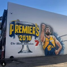 JK's mural has been updated. Quality pic @westcoasteagles #ItsTimetoFly 💛💙🦅