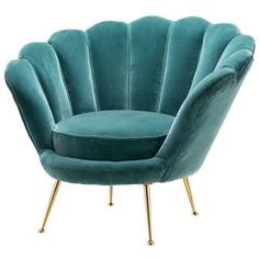 Shell Armchair with Cameron Deep Turquoise Velvet